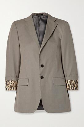 R13 - Silk Satin-trimmed Houndstooth Cotton Blazer - Gray