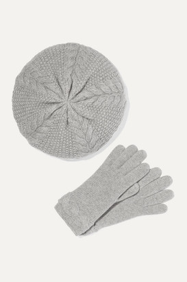 Portolano Cable-knit Cashmere Beret And Gloves Set - Gray