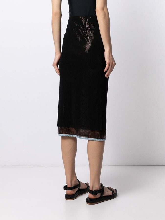 Thumbnail for your product : Supriya Lele Sequin-Embellished Midi Skirt