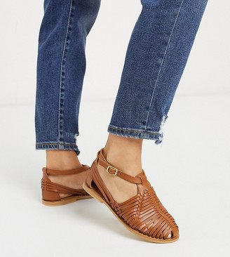 Asos DESIGN Wide Fit Viva leather woven flat shoes in tan