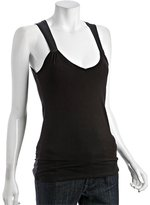 black jersey and silk shirred yoke tank