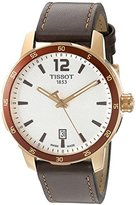 Tissot Men's 'Quickster' Swiss Quartz Stainless Steel and Leather Automatic Watch, Color:Brown (Model: T0954103603700)
