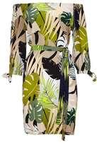 Wallis Khaki Palm Print Bardot Dress
