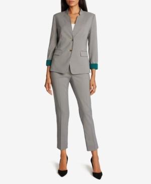 Tahari ASL Checkered Contrast-Cuff Pants Suit