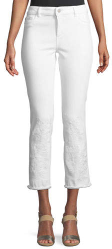 DL1961 Premium Denim Mara Embroidered Instasculpt Cropped Jeans