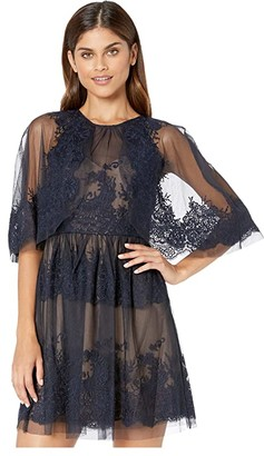 BCBGMAXAZRIA Lace Dress with Overlay Cape Detail (Dark Navy) Women's Dress