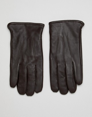 ASOS DESIGN leather touchscreen gloves in brown