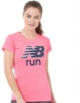New Balance Womens Accelerate Heathered Graphic Running Top Alpha Pink Heather