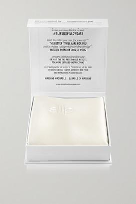Slip Embroidered Silk-satin Euro Sham Pillow - White