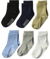 Jefferies Socks Non-Skid Rib Crew 6-Pack Boys Shoes