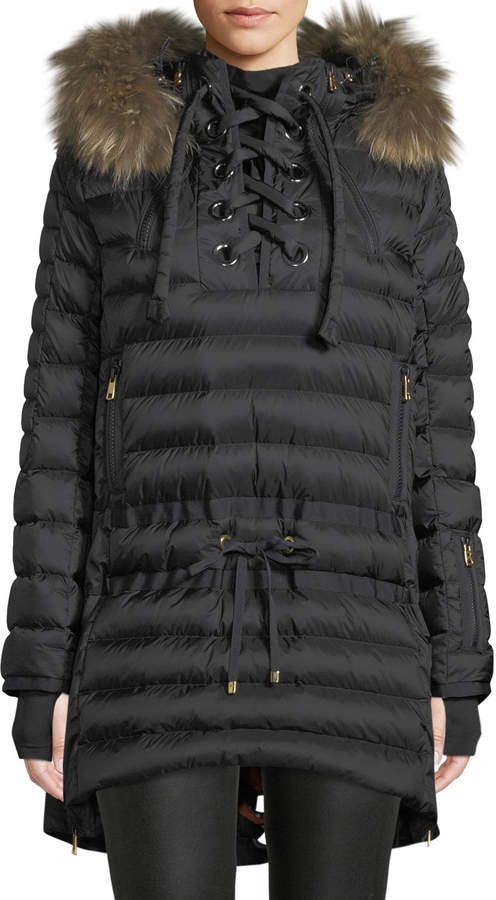 83886dacb Debby Down Puffer Coat w/ Removable Fur Trim & Laces