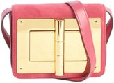 Tom Ford hot pink and gold leather 'Natalia' suede accent large turnlock buckle shoulder bag