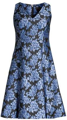 Donna Karan Floral Jacquard Fit & Flare Dress