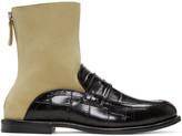 Loewe Black & Beige Sock Loafer Boots