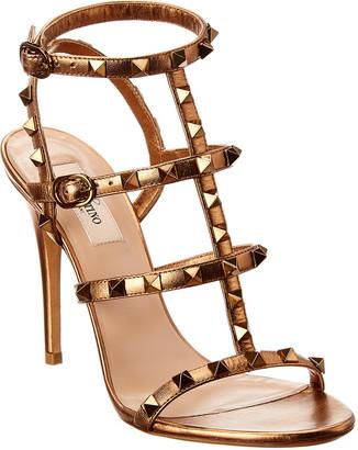 Valentino Rockstud Caged 100 Leather Ankle Strap Sandal