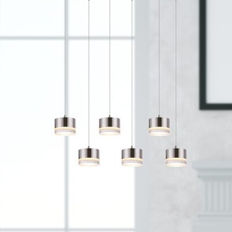 Orren Ellis Barnsdall 6-Light Cluster Drum Pendant Finish: Chrome