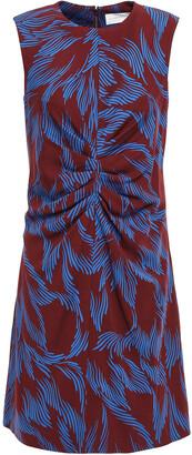 Victoria Victoria Beckham Ruched Printed Stretch-crepe Mini Dress