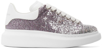 Alexander McQueen Silver and Purple Glitter Oversized Sneakers