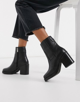 Bronx leather square toe heeled ankle boots in black