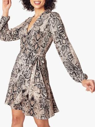 Oasis Snake Print Wrap Dress, Multi