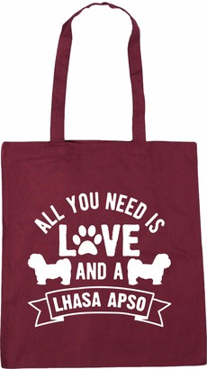 Hippowarehouse All you need is love and a Lhasa Apso Tote Shopping Gym Beach Bag 42cm x38cm 10 litres