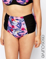 Asos Bright Palm Leaf Print High Waist Bikini Bottom with Ruched Sides and Support