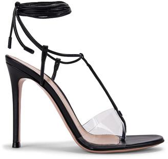 Gianvito Rossi Plexi Strappy Heels in Black & Transparent | FWRD