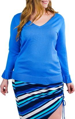 Marée Pour Toi V-Neck Flutter Cuff Knit Sweater