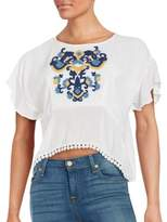 Lovers + Friends Embroidered Cropped Top