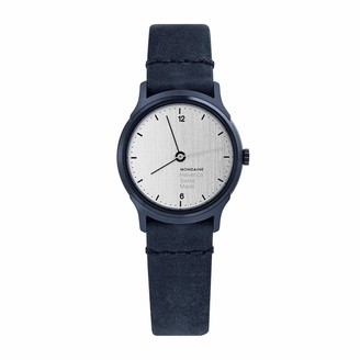 Mondaine Helvetica Classy Wrist Watch for Women (MH1.L1110.LD) Swiss Made Blue Leather Strap and Stainless Steel Case with Silver Face