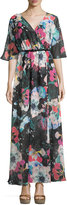 French Connection Floral-Print 3/4-Sleeve Maxi Dress, Black/Multi