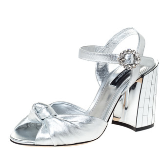 Dolce & Gabbana Silver Leather Knot Detail Ankle Strap Mirrored Block Heel Sandals Size 38