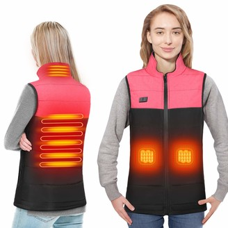 DOACT Women's Heated Vest USB Charging Lightweight Padded Jacket Independent Heating Back and Abdomen Vest Slim Fit Electric Stand Collar Vest Wind Resistant(s)