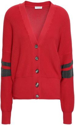 Brunello Cucinelli Bead-embellished Ribbed Cotton Cardigan