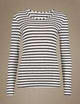 Marks and Spencer Thermal Long Sleeve Striped Top