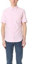 Gitman Brothers Short Sleeve Pink Stripe Oxford Shirt