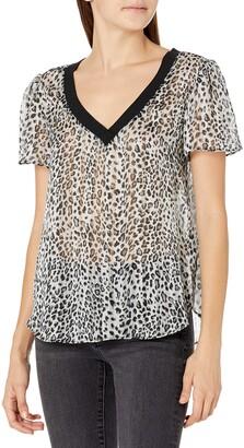 Milly Women's Metallic Small Stripe Leopard Burnout Tee with Knit Trim