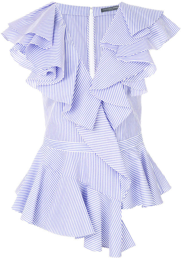Alexander McQueen striped ruffle blouse