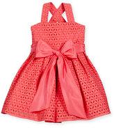 Helena Sleeveless Cross-Back Eyelet Dress, Coral, Size 4-6