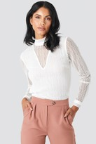 NA-KD Lace High Neck Frill LS Blouse