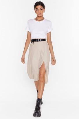Nasty Gal Womens We Don't Give a Slit Satin Midi Skirt - Almond - 6