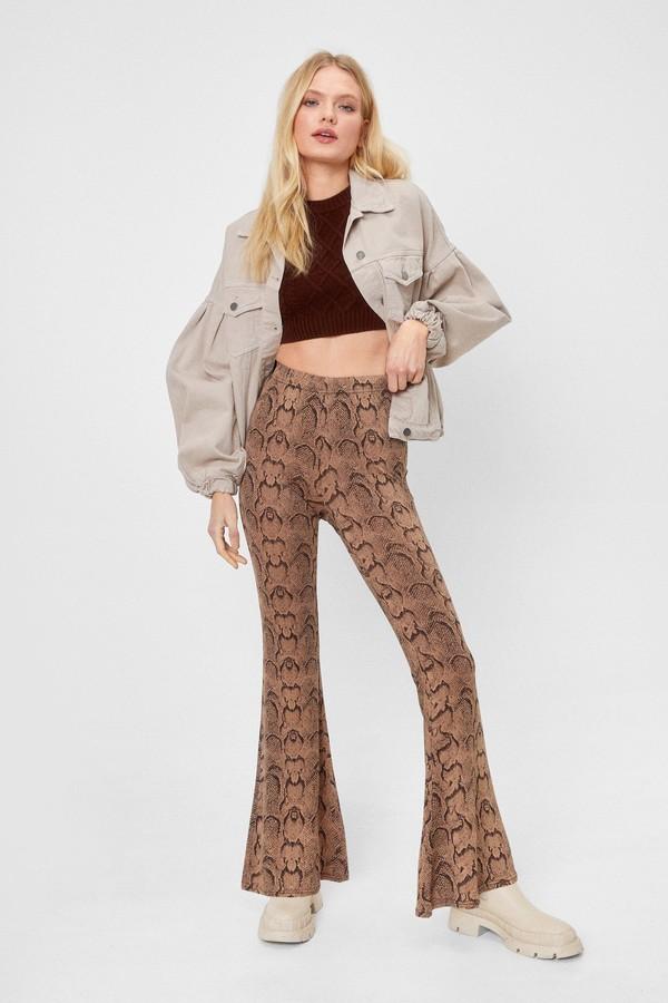 Nasty Gal Womens Snake Print High Waisted Flared Pants - Natural Beige