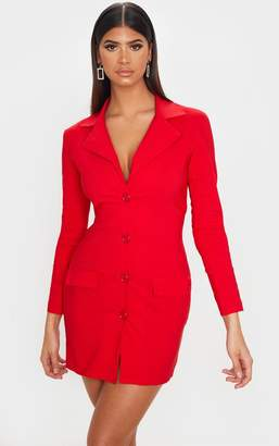 PrettyLittleThing Red Stretch Pocket Detail Blazer Dress