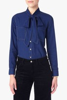 7 For All Mankind Denim Bow Tie Shirt In Indigo