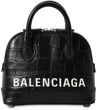 Balenciaga XXS VILLE CROC EMBOSSED LEATHER BAG