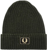Fred Perry Two Tone Cotton Beanie Hat Green