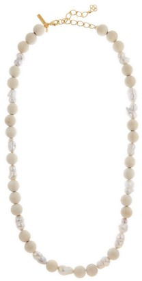 Oscar de la Renta Wood Bead & 20MM Baroque Freshwater Pearl Long Necklace