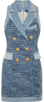 Balmain Denim-trimmed Tweed Mini Dress - Blue
