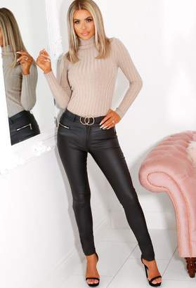 Pink Boutique Adrianna Black Pu Leather Trousers