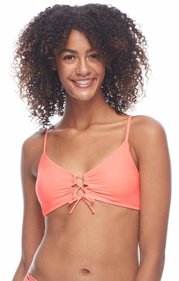 Body Glove Women's Mika Solid Halter Triangle Bikini Top Swimsuit with Cross Tie Back
